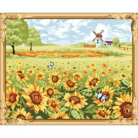 Gx7458 malen junge marke naturel Landschaft sonnenblumen Ölbild nach zahlen-sets