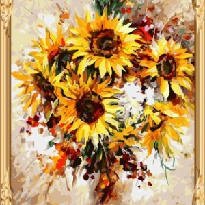 GX 7632 abstract digital sunflower oil painting for living room decor
