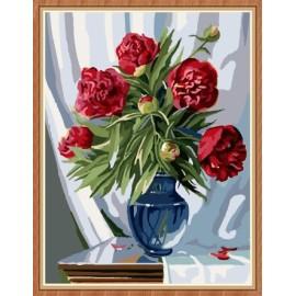 Artes artesanía flor en florero pintura al óleo digital para la decoración casera GX7839