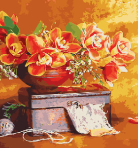GX7960 still life 40x50cm flower paint by number kits oil painting for home decor