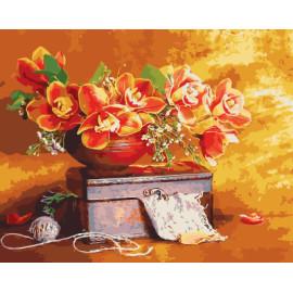Gx7960 still life 40 x 50 cm pintura de la flor by número kits de pintura al óleo de la decoración del hogar