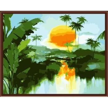 Yiwu manufaktur 40*50 abstrakte diy Landschaft Ölbild auf leinwand gx6249