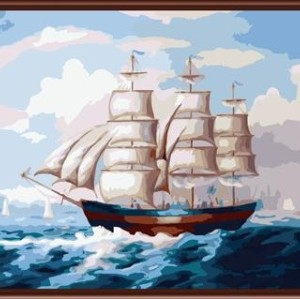 factory hot photos paint by numbers on canvas with seascape ship picture GX6276