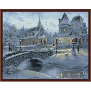 leinwand malen nach zahlen Schneelandschaft Öl malen nach zahlen gx6376