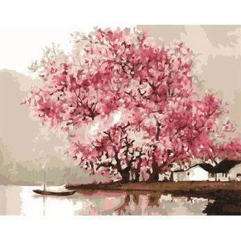 Neues design diy digitale 40*50 sakura Landschaft gerahmte Ölgemälde von umbe auf leinwand