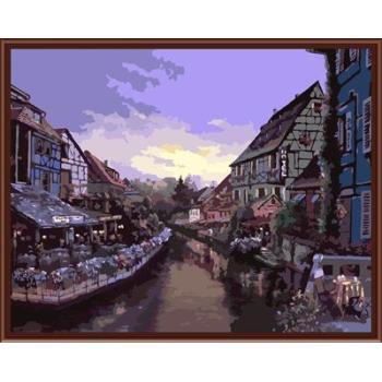 Stadtlandschaft Bild malerei auf leinwand Öl malen nach zahlen, leinwand Ölgemälde gx6369