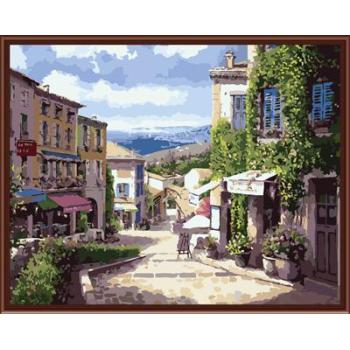 Abstrakte stadt landschaftsbild malerei auf leinwand Öl malen nach zahlen, leinwand Ölgemälde gx6368