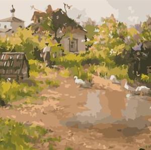 naturel village landscpe oil painting kit painting for beginners set GX6585