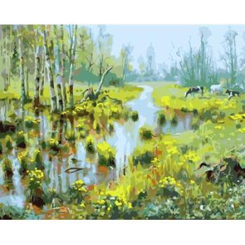 gx6606 yiwu fabrik abstrakte naturel landschaft leinwand Ölgemälde Dorf landschaft malerei