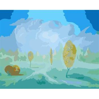 gx6612 yiwu fabrik abstrakte naturel landschaft leinwand Öl malen nach zahlen baum design malerei