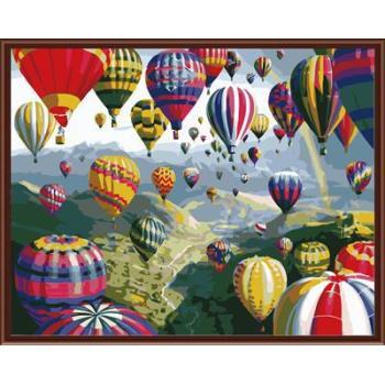 Natur, landschaft färbung von Zahlen kit handmaded malerei Feuer ballon foto gx6524