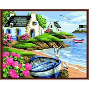 2015 neue heiße naturel seelandschaft acryl diy leinwand Öl malen nach zahlen für Wohnzimmer dekor gx6532