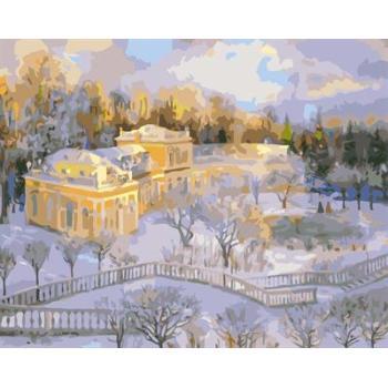 Ölgemälde kit malerei für Anfänger gesetzt gx6596 yiwu fabrik abstrakte schnee stadt landschaft leinwand Ölgemälde