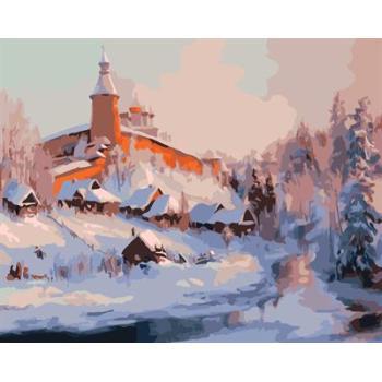großhandel schnee stadt Landschaft malen nach zahlen auf leinwand gx6565