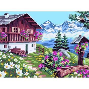 naturel Landschaft blume und Haus design Öl malen nach zahlen gx6711