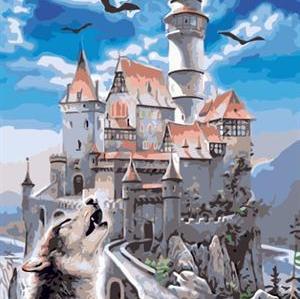 seascape castle design canvs oil paint by number GX6679