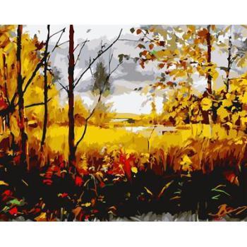 gx6613 yiwu fabrik abstrakte naturel landschaft leinwand Öl malen nach zahlen baum design malerei