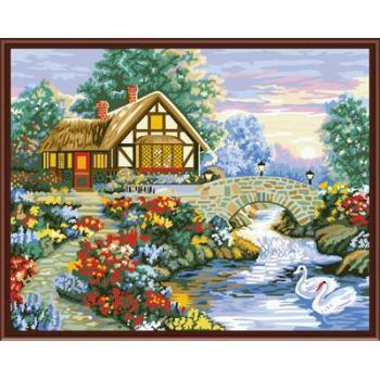 gx6808 malen nach zahlen 2015 Dorf landschaft heißer verkauf Bild