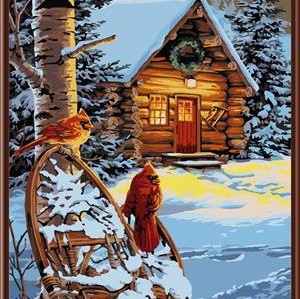 handmaded painting by numbers GX6831 snow house landscape