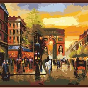 oil painting by numbers handpainted wholesales 2015 home and city landscape design painting GX6490