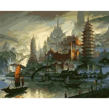 leinwand Öl malen nach zahlen Stadtlandschaft yiwu großhandel gx6940