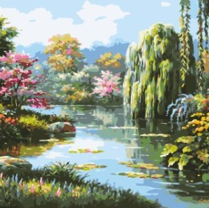 diy painting by numbers naturel landscape oil painting GX7146 2015 new hot photo flower and tree