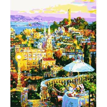 Stadtlandschaft holzrahmen malen nach zahlen auf leinwand gx7189