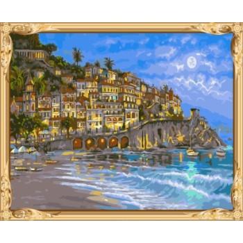 abstaract mediterrane landschaft leinwand Öl malen nach zahlen für wohnkultur gx7239