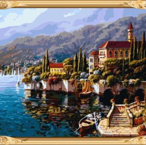 GX7409 wooden frame coloring by numbers hot art landscape oil painting for home decor