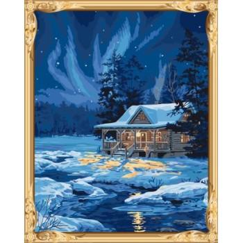 Gx7415 malen nach zahlen schnee Nacht-Landschaft leinwand Ölgemälde für wand-kunst