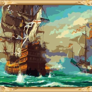wall art seascape diy coloring by numbers canvas oil painting GX7528
