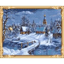 Gx 7612 farbe durch zahlen schnee Nacht-Landschaft kunst für das wohnzimmer dekor