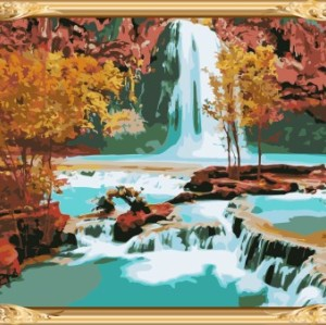 naturel landscape acrylic canvas diy oil painting by numbers for wohlesales GX7253