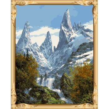 gx7365 Bild von Zahlen schnee Mountain naturel Landschaft leinwand diy Ölmalerei für Wohnzimmer dekor