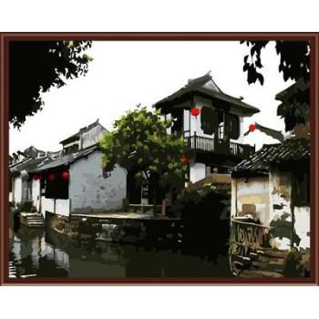 gx6056 chinses Stadt Landschaft leinwand Öl paiting nach zahlen für wohnkultur