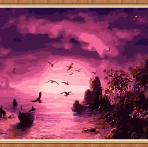 sunset seascape paintboy diy painting by numbers for wholesales GX7790