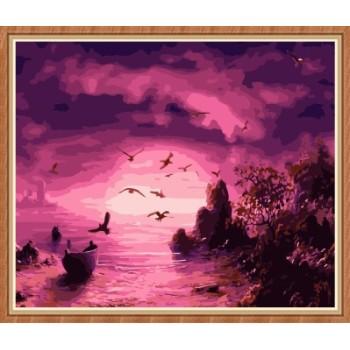 Sonnenuntergang seelandschaft paintboy diy malen nach zahlen für großhandel gx7790