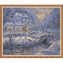 Artes artesanía paisaje de nieve para colorear by números para la decoración casera GX7836