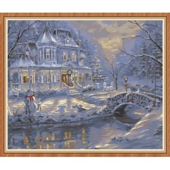 kunsthandwerk Schneelandschaft färbung von Zahlen für wohnkultur gx7836