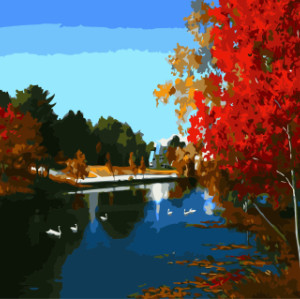 GX7932 landscape paintings by numbers with acrylic paints