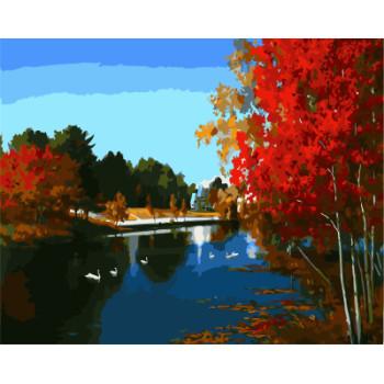 gx7932 Landschaft gemälde von zahlen mit Acrylfarben