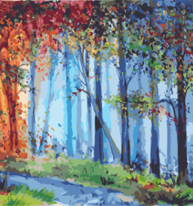 GX7935 forest paintings by numbers with acrylic paints