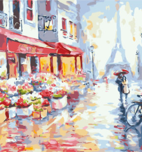 GX7959 raining paris paint by number kits oil painting for home decor