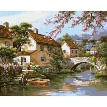abstrakte Dorf landschaft cnvas Ölgemälde handmaded malen nach zahlen gx6756 2015 fctory neues design