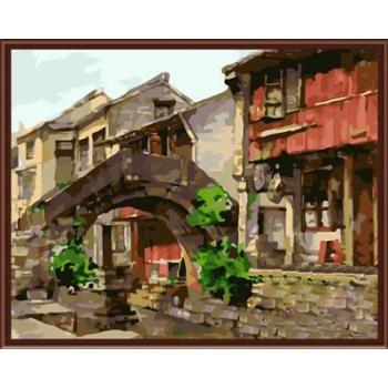 abstrakten chinesischen Dorf landschaft cnvas Ölgemälde handmaded malen nach zahlen gx6759 2015 fctory neues design
