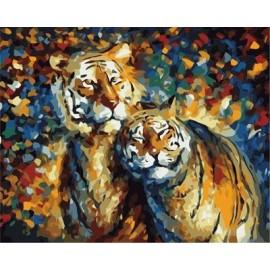 Tigre abstracto pintura al óleo by números en la lona GX6910