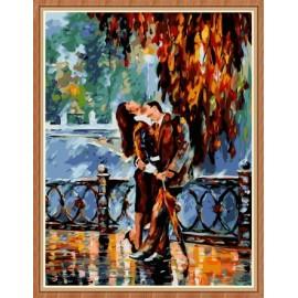 Kuss in regen abstrakten Öl malen nach zahlen für den großhandel gx7863