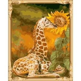Gx 7643 arte de la pared animal y lona de la flor conjunto la pintura de aceite
