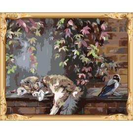 Gx 7602 de bricolaje para colorear by números gato y pájaro abstracto pinturas murales