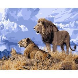 Gx 7659 león de acrílico color por números diy arte de la pintura